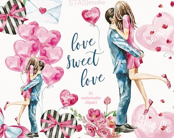 Watercolor Valentines Clipart Love Background Romantic Couple Valentines Fashion illustration Pink Blue Flowers Printable Romantic Planner