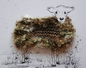 "Wooly sheep portrait ""Gwyneth"", Original, ink and wool illustration"