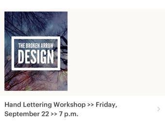 Hand Lettering Workshop >> Friday, September 22 >> 7 p.m.