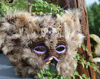 """SOLD-Valerie - MasqueMask in feather/feathers natural of pheasants/Pheasants - Valerie - """"Unique"""" (74)"""