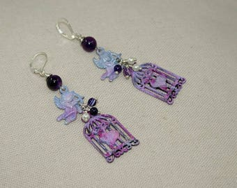Earrings romantic, Cupid, agate and Pearl pertles, designer jewelry