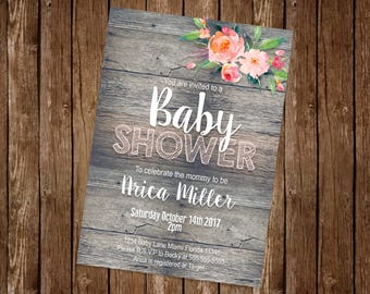 Rustic Baby Shower Invitation (Made to order)
