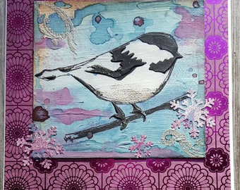 Lovely handcrafted chickadee greeting card mixed media original art