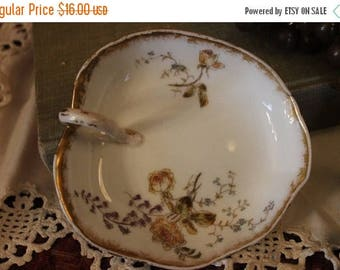 SALE Antique Ch. Field Haviland Leaf Shaped Lemon Serving Plate with Hand Painted Flowers and Gold Gilding