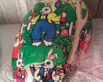 Papermache Easter Egg Candy Container - Made in Western Germany - Vintage Easter Home Decor