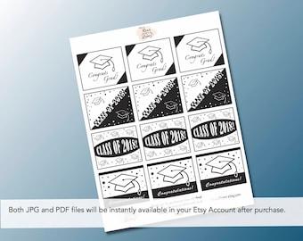 Line Art Rectangle Graduation Printable Gift Tags, Hats off to the Graduate, School Graduation, Graduation Party Favors, Class of 2018