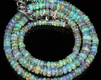 """41 Ctw 1Necklace 3to5 mm 17"""" Beads Natural Genuine Ethiopian Welo Fire Opal ET147"""