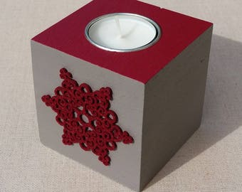 Taupe, Burgundy Red snowflake decor wooden Square candle holder