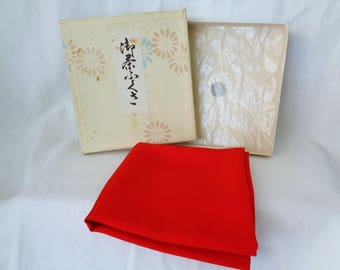 EJP11 : Vintage Japanese High quality Fukusa tea ceremony silk cloth Kitamura Tokusai basic plain
