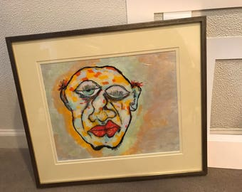 Wall, folk, outsider, art, Man's, face, colorful, painting, original, Larry Cutler, Framed & Matted, SALE!