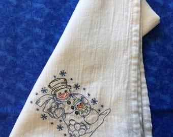 Made to Order Flour Sack Towel Embroidered-Snowman with Child
