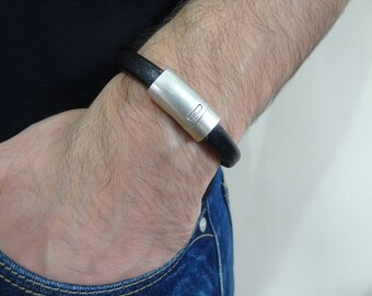 EXPRESS SHIPPING,Men's Leather Bracelet,Black Leather Bracelet,Men's Jewelry,Silver Magnetic Clasp Bracelet,Cuff Bracelet,Gifts for Him