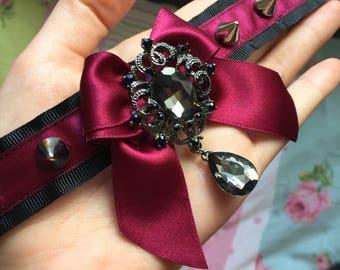 Black & wine studded collar