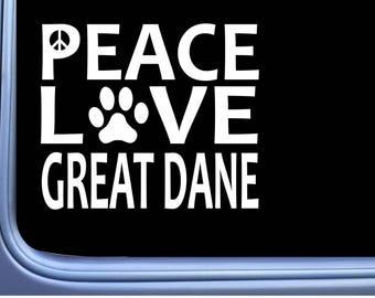 "Great Dane Peace Love L629 Dog Sticker 6"" Window Decal"