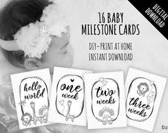 PRINTABLE Baby Milestone Cards Set | Instant Digital Download | Original Doodle Design