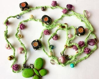 The Butterfly Garden Crochet Beaded Necklace