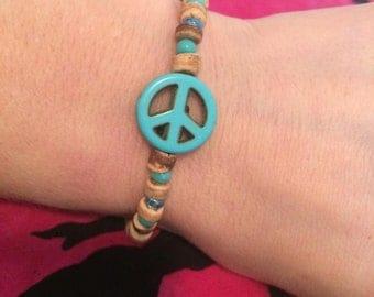 Turquoise Blue Peace Sign Bracelet