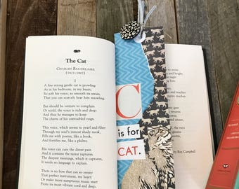 Handcrafted bookmark and book: 101 Favorite Cat Poems. Published by Contemporty books, copyright 1991.