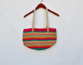 woven colorful market bag