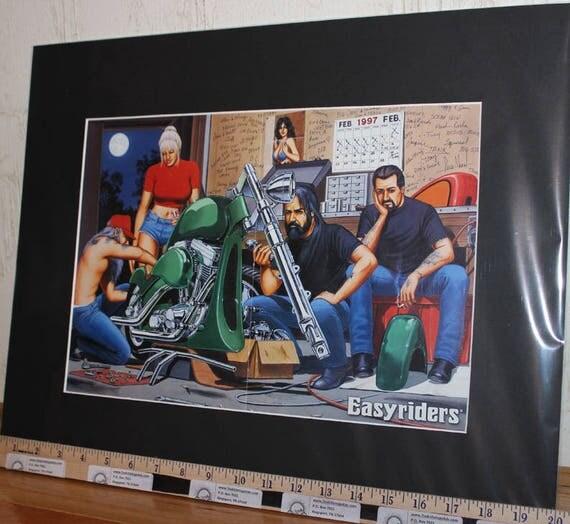 "David Mann ""Bike Show Deadline"" 16'' x 20'' Matted Biker Art #9702ezrxmb"