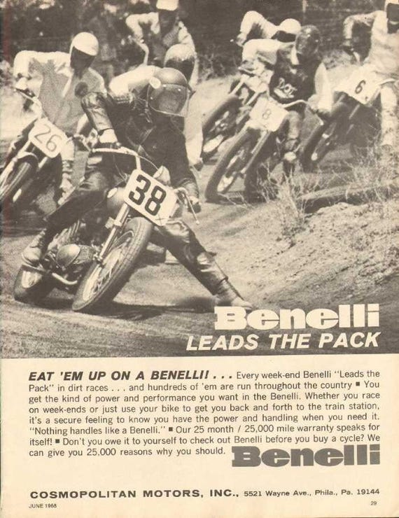 1968 Benelli Motorcycle Dirt Racing Ad #nca03