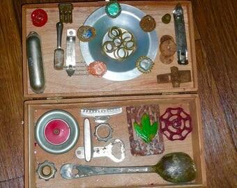 Box Lot Detash Repurpose Salvage Rust Industrial Junk Treasure Toy Parts Cigar Box DIY By VintageStudioSupply