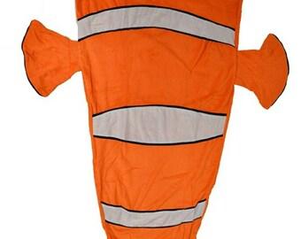 Clownfish tail blanket, fish tail blanket, mermaid blanket, Clownfish blanket, nemo blanket, fleece blanket, blanket for boys, Hanukkah gift