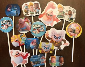Captain Underpants cupcake toppers (15) Captain Underpants the movie cake toppers. Birthday party supplies.