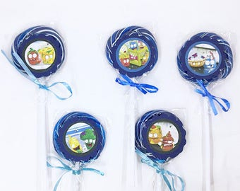 Grossery Gang | Lollipops Set of 10 , Dessert Table, Candy Favors, Swirl Lollipops, Fruity, Candy Bar
