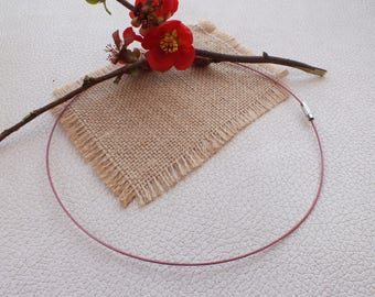 ROUND neck in thread of steel color old pink Metal 45cm