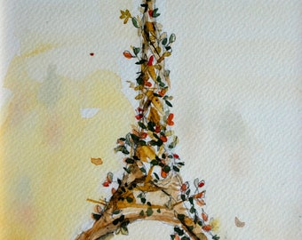 The Eiffel Tower tree postcard