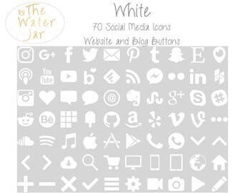 White Social Media Icons for website and blog commercial use.  White Social Icons, Blog Icons, Website Buttons
