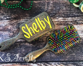 Paddle Brush, Rainbow Brush, Personalized Brush