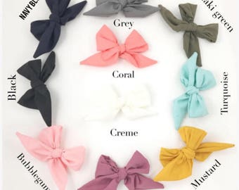 Mini sailor bows, nylon headband, hair clip