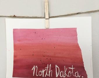 North Dakota Watercolor - [Red/Pink]