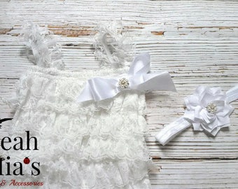 White Headband and Romper Set, Lacy Romper and Lotus Headband Set, Photography Props for Baby, White Lotus Headband, Baptism Romper Set