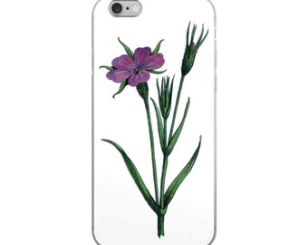 Botanical flower iPhone case for plant and garden lovers, with unusual vintage purple flox plant drawing