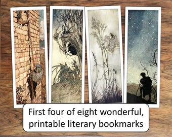 Eight printable literary bookmarks for DIY print at home, for book lovers, book club favors, and more!