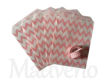 Set of 10 paper bags / pink Chevron gift bags