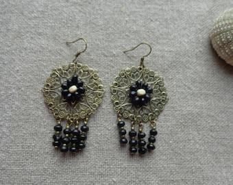 Earrings black wooden beads black bo bo bronze stamp bronze