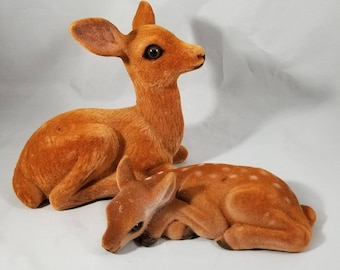 2 Vintage Flocked Deer Figurines of Doe and Fawn.