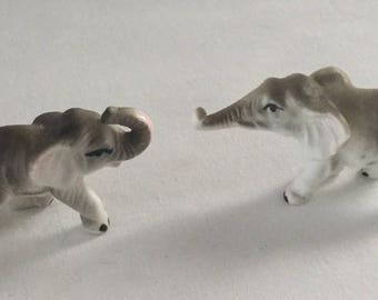 2 Vintage Miniature Porcelain Elephant Figurines