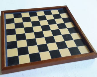 Vintage Painted Wood Checkerboard and Backgammon Board