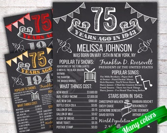 Personalized 75th Birthday Chalkboard Poster Sign, Birthday Poster, 75 Years Ago Back in 1943 USA Events, Gift, Color Customizable - P140