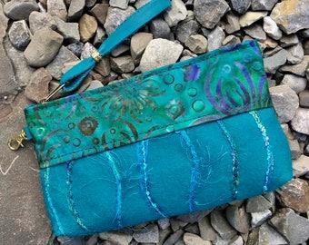 Clutch makeup phone bag pouch purse organizer wallet evening bag glasses caseTurquoise Felted Wool Batik Fiber Art Unique gift for her
