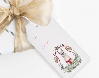 Fa La La lLama Christmas Gift Tag Set | Watercolor Gift Tag | Llama Gift Tag | Christmas Hanging Tag | Llama Christmas Decor | Funny Tag