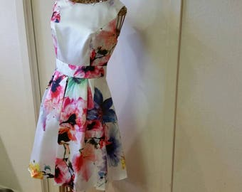 Floral Satin A-line Style with Box Pleats