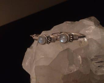 Tibetan silver moonstone hoops