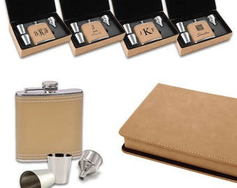 Personalized Light Brown Leatherette and Stainless Steel Hip Flask and Shot Glasses Set - Laser Engraved Liquor Flask Set for Groomsmen