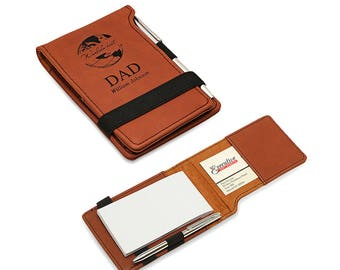 World's Best Dad Tan Leatherette Notepad - Personalized Flip Notepad and Pen Set for Dad - Engraved Pocket Notebook - Best Dad Present